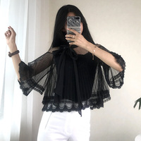 Women T shirt Fake Two Pieces Knitted Lace Up Bow Mesh Split Tees Elegant Ruffles Pearl Button Top Runway Slim Pullovers