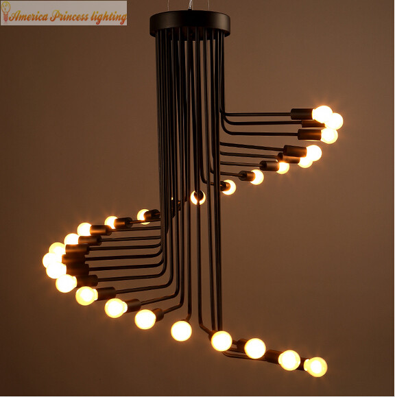 American Industrial creative personality lamp spiral cafe ...