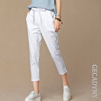 2015 Summer New Women S Casual Pants Capris Fashion Cotton Linen Crops Pants Elastic Waist Harem