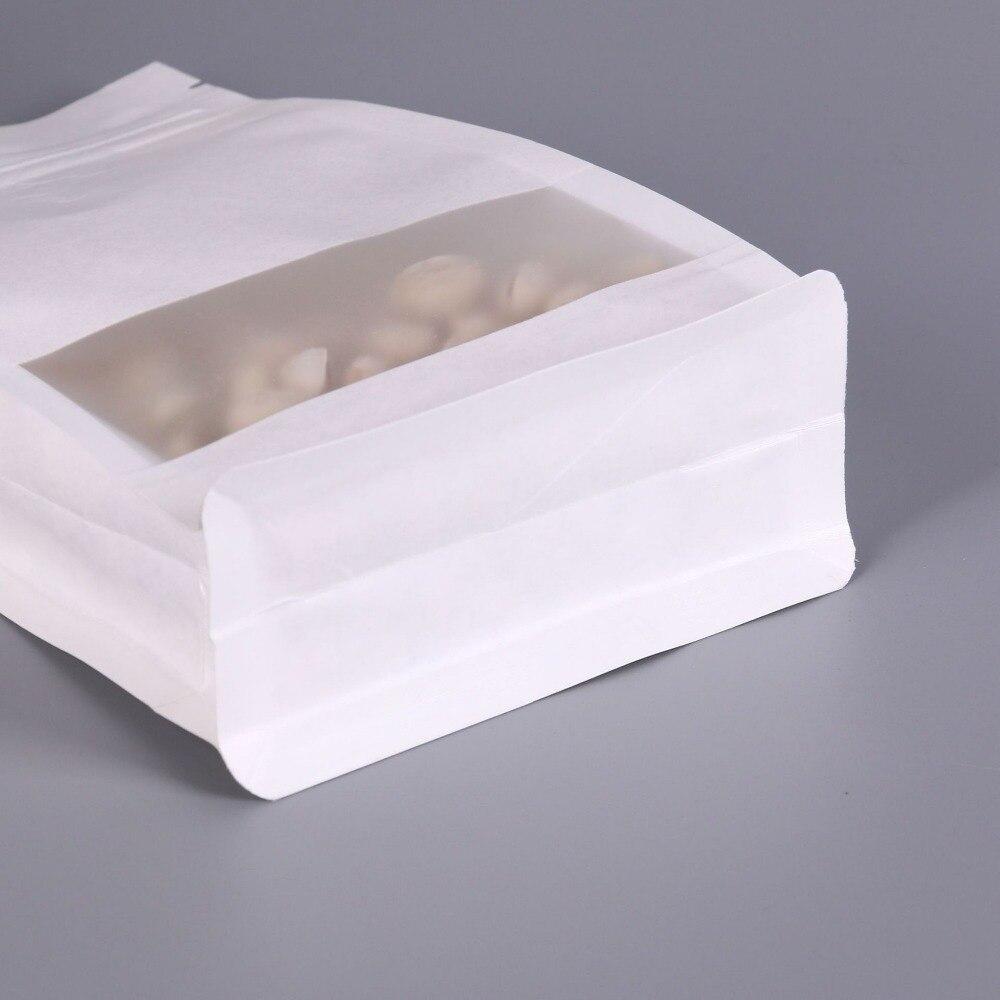 Горячие 10 см x 20 см белый большие возможности-стойка Kraft Бумага упаковка мешок с застежкой-молнией окна Foods мешок кофе сумки для хранения ювелирных изделий