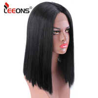 Leeons Popular High Quality Synthetic Wig Lace Wig Synthetic Long Kinky Straight Wig For Black/White Women 15Inch Black