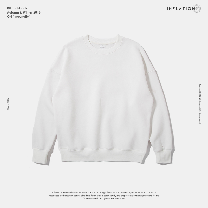 INFLATION Winter Mens Hip Hop Multi-colour Hoodies Velvet Fabrics Fleece Sweatshirts 8 Solid Color Winter Men Sweatshirts 166W17 19