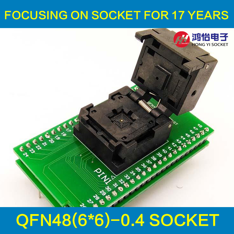 QFN48 MLF48 Programming Socket IC Test Adapter Pitch 0.4mm Clamshell Chip Size 6*6 Flash Adapter Burn in Socket qfp40 ic test conversion chip ic programming block qfp40