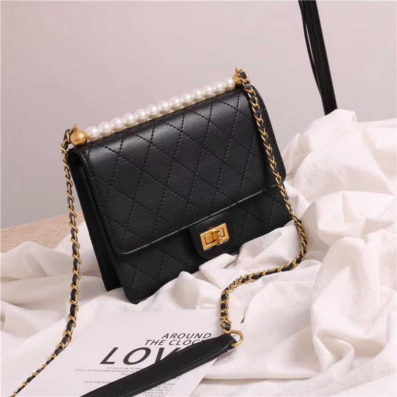 New Brand Designer Women Messenger Bag Small Pearl Diamond Lattice Genuine Cow Leather High Quality Female