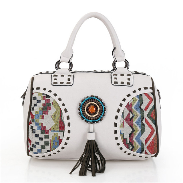 women handbag Ethnic white Bags Vintage Ladies Shoulder bags ethnic hippie bohemian bolsa hippies lady's large shoulder bag