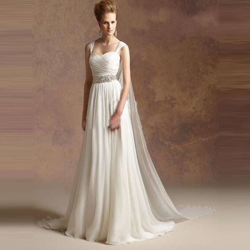 Greek style a line chiffon wedding dress 2017 simple sash for Plain wedding dresses with straps