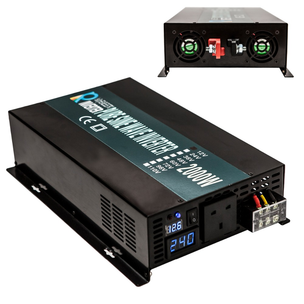 Off Grid Dc to Ac True Pure Sine Wave Inverter Power Inverter 12V 24V 48V 220V 2000W For Car Solar Inverter Pump 2000W 2000w pure sine wave power inverter off grid dc 12v to ac 220v 50hz for solar system