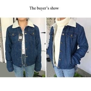 Image 5 - Spring Autumn Winter New 2019 Women lambswool jean Coat With 4 Pockets Long Sleeves Warm Jeans Coat Outwear Wide Denim Jacket