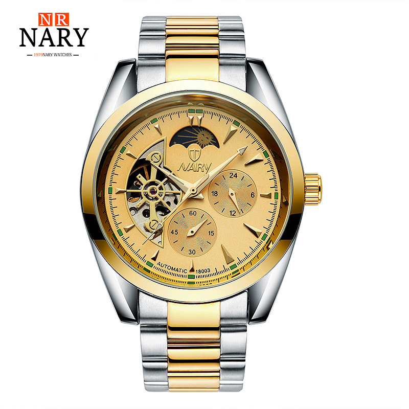 NARY New automatic Watch Fashion Luxury Brand Men Gold Hollow Watches Male skeleton Wristwatch relogio masculino new hot sale skeleton hollow fashion mechanical hand wind men luxury male business leather strap wrist watch relogio masculino