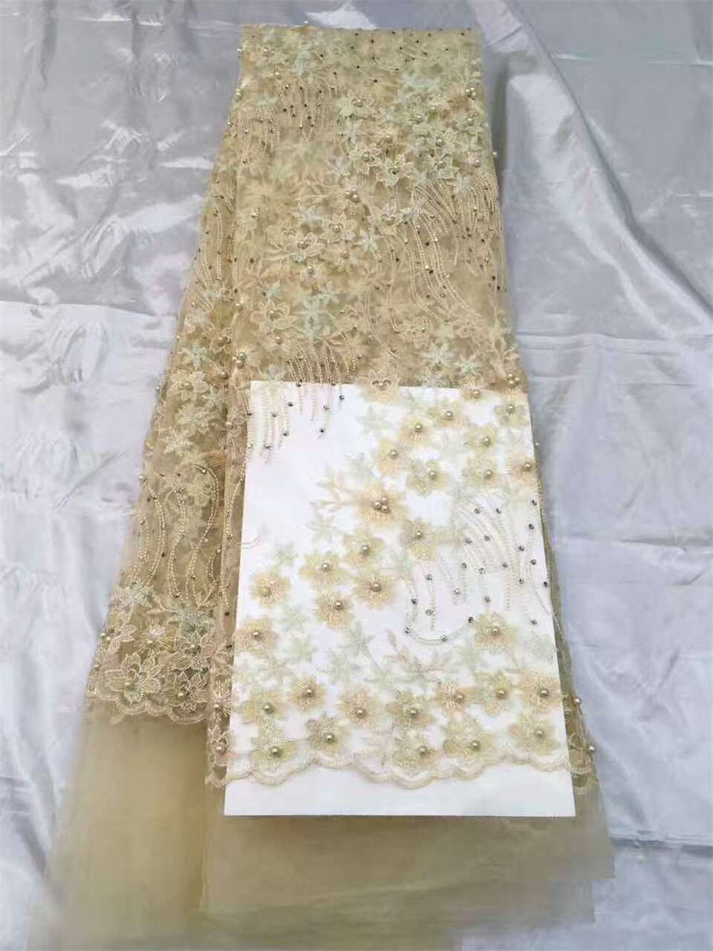 Cream color Latest African French Lace Fabric High Quality Tulle Fabric,nigerian tulle lace with stones and pearls for Wedding