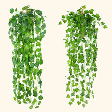 2pc / παρτίδα 90cm Φτηνές τεχνητές φύλλα κισσών Τεχνητή πράσινα φυτά γύψου Αμύγδαλα Fake Φύλλωμα Αρχική Γιορτή Γάμου Διακόσμηση