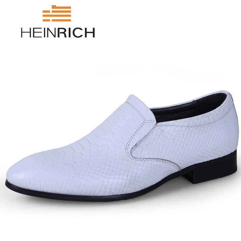 HEINRICH Luxury Brand Leather Concise Men Business Dress Black Shoes Summer Breathable Formal Wedding Basic Shoes Men