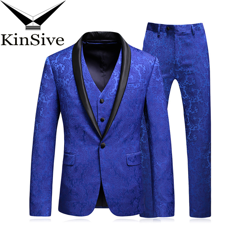 Costume Homme Mariage <font><b>2018</b></font> New Blue 3 Pieces Set <font><b>Suit</b></font> <font><b>Terno</b></font> Masculino Slim Fit <font><b>Men</b></font> <font><b>Suit</b></font> (Jacket+Pant+Vest) <font><b>Wedding</b></font> Prom Tuxedo image