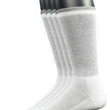 Yomandamor Men's 4 Pairs Bamboo Diabetic Crew Socks with Seamless Toe Cushion Sole