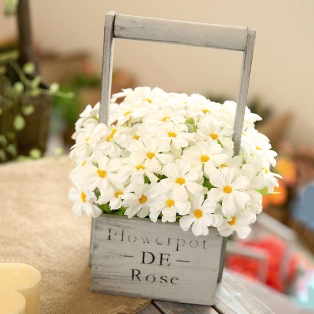 1 Set Artificial Flowers Daisy Hydrangea Bouquet Wooden Flowerpot