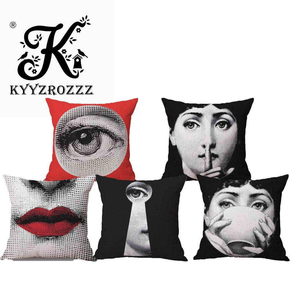 Modes augstas kvalitātes Retro Fornasetti sarkanās lūpas, sejas izteiksmes Dekoratīvās mest spilvena korpusa spilvenu vāka dīvāns