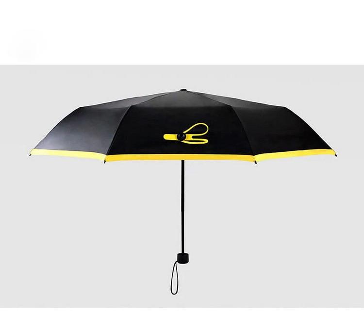 mini karbon lif üç qatlanan qara günəş yağışı şemsiye uv - Ev əşyaları - Fotoqrafiya 2