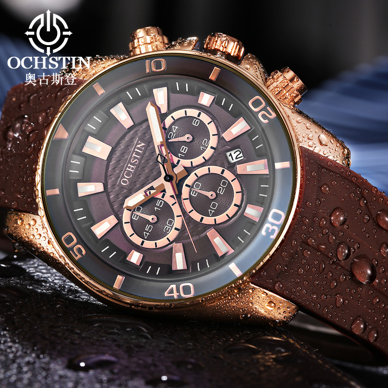 2017 Casual Sports Watches Men Top Brand Luxury OCHSTIN Men's Quartz Silicone Army Military Wrist Watch male Clock relogio xinge top brand luxury leather strap military watches male sport clock business 2017 quartz men fashion wrist watches xg1080