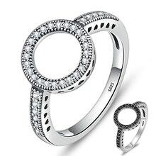 Paylor классический серебристый цвет навсегда прозрачный черный круглый фианит круглый бренд палец кольца для женщин ювелирные изделия матери подарки Drosphip