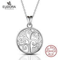 Eudora 925 Sterling Silver Jewely Tree Of Life Pendant Necklaces For Women Fine Jewelry Collares Forever