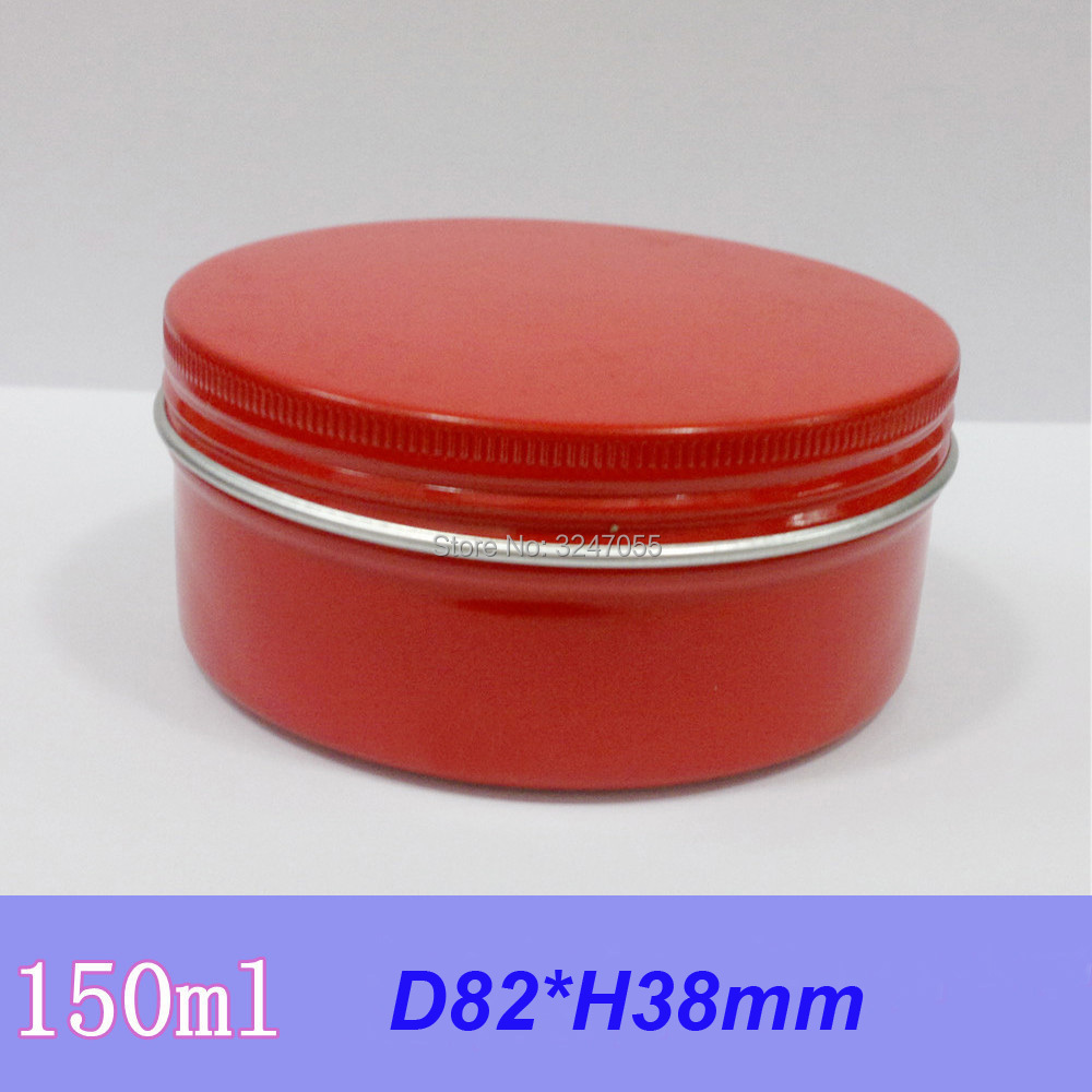 150G 30pcs50pcs Red Round Empty Aluminum Cream Jar,DIY Metal Ointment Storage Tin Case,Professional Cosmetic Mask Refillable Pot 150g aluminum jar refillable cosmetic cream bottle empty screw cap containers black pink gold white silver lotion tins