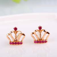 Robira Free Shipping 14K Gold Ruby Ear Stud Imperial Crown Design Ruby Gemstone Earrings Birthstone Jewelry