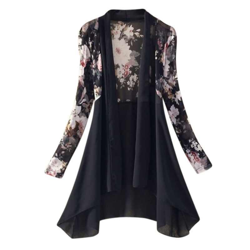 ผู้หญิงยาวเสื้อชีฟองเสื้อผู้หญิง Cardigan ครีมกันแดดเสื้อดอกไม้พิมพ์ผู้หญิงเสื้อ Outwear Tops