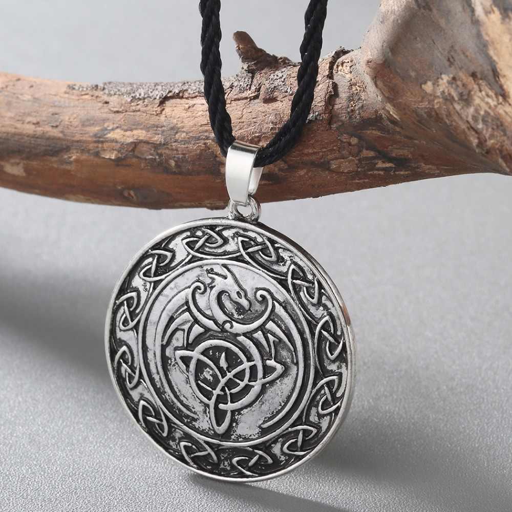 Kinitial Viking słowiański talizman zwierząt smok wisiorek naszyjnik mężczyźni geometryczne węzeł naszyjnik trójkąt naszyjnik biżuteria