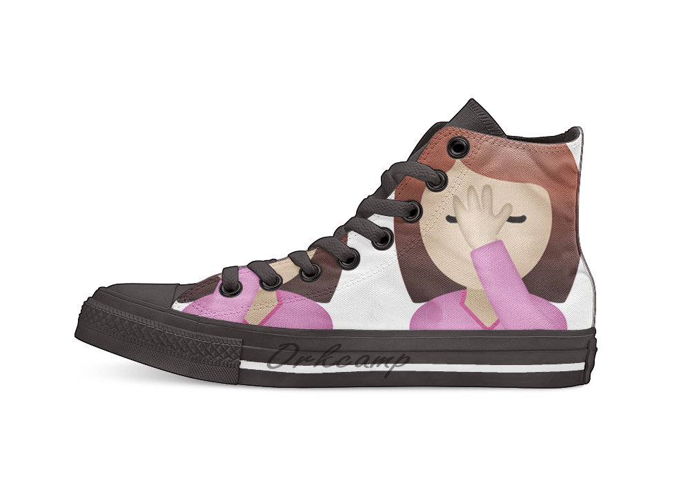 Lady Palm Face Emoji Casual High Top Canvas shoes sneakers For Drop shipping