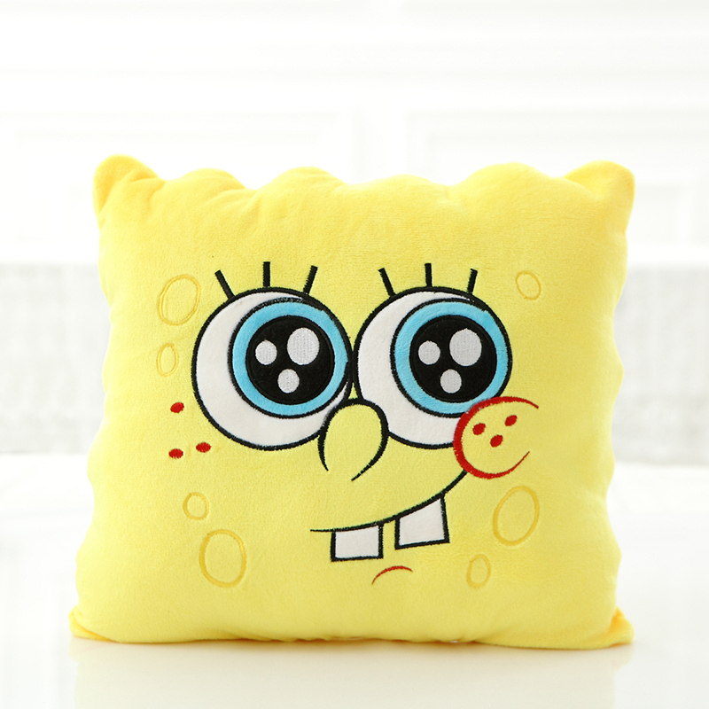 1pcs 34*34cm Cartoon Sponge baby bob Plush toys Soft Spongebob Pillow Cushion Four models Can be Selected Kids Toys birthday !