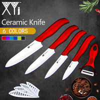 XYj Sharp White Blade Kitchen Ceramic Knife Cooking Tools Set 3 4 5 6 Inch Free