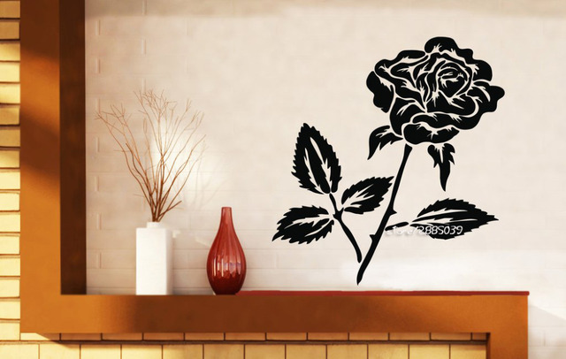 Bud Rose Thorns Leaves Wall Stickers Beautiful Flower Vinyl Wall Decals Home Decor Wallpaper High Quality & Bud Rose Thorns Leaves Wall Stickers Beautiful Flower Vinyl Wall ...