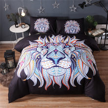 Bedding Set Painting 3D Black Lion king Bohemia King Duvet Cover with Pillow Case 2/3PCS Indian style30(China)