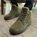 Sougen Botas Para Hombre Casuales de Cuero Genuino Impermeables Zapatos de Gamuza Invierno Hebilla Botines Militares Negro Chelsea Hombres Felpa Bot