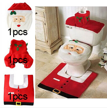 2016 Gift New Fancy Santa Toilet Seat Cover and Rug Bathroom Set Contour Rug Christmas Decorations For Natal Navidad Decoracion image