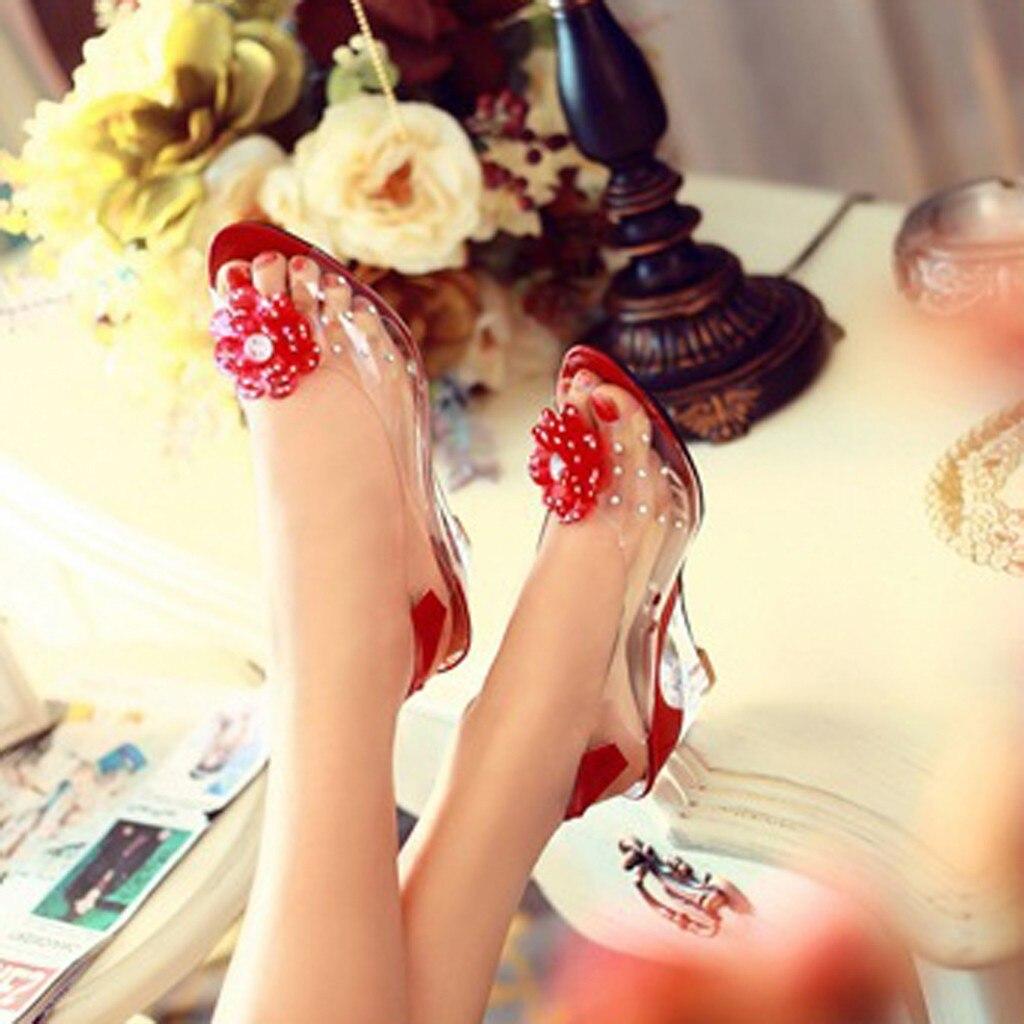 Sandals Shoes Wedges Crystal Flower Peep-Toe Fashion Women's Ladies Feminina Sweet Damskie