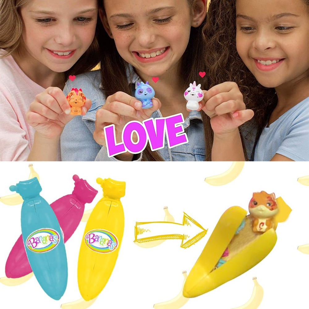 Funny Bananas Collectible Toy 3-Pack Bunch Surprise Banana Plastic Toy For Kids Play Game Adult Relax Stress Toys