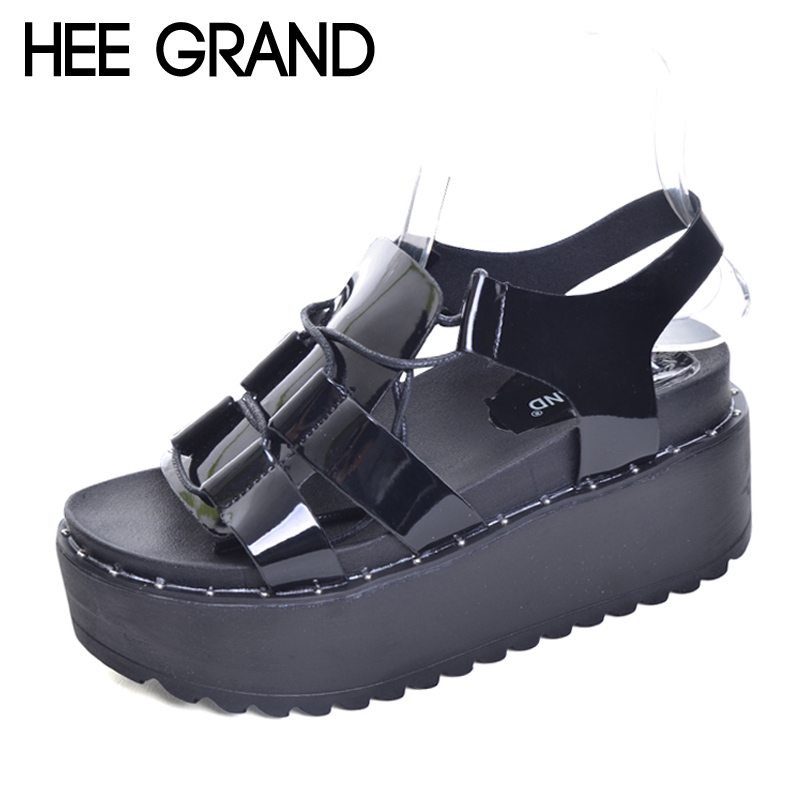 HEE GRAND Lace-Up Gladiator Sandals 2017 Summer Platform Flats Shoes Woman Casual Creepers Fashion Beach Women Shoes XWZ4085 hee grand summer glitter gladiator sandals 2017 casual wedges bling platform shoes woman sexy high heels beach creepers xwx5813