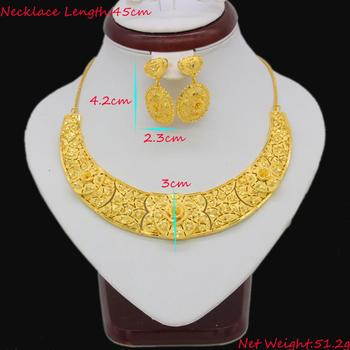 Adixyn Trendy Necklace&Earrings Jewelry Set for Women Gold Color /Copper Jewelry Ethiopian Bridal Wedding/Party Gifts