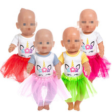 Doll Clothes Baby New Born Fit 18 inch 40-43cm Doll Red pink yellow Unicorn Clothes Accessories For Baby Birthday Gift born new baby fit 18 inch 43cm clothes for doll blue pink red star with hairhand clothes accessories for baby birthday gift