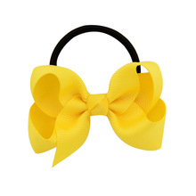 Fashion kids baby female solid color bow hair rope rubber band girl apron tiara accessories ring