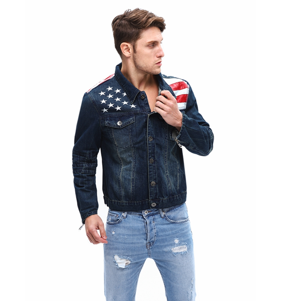 2019 Spring Men Denim Jeans Coat Button American Flag Jeans Streetwear Vintage Mens Jean Jacket Outwear Male Cowboy Size S-4XL