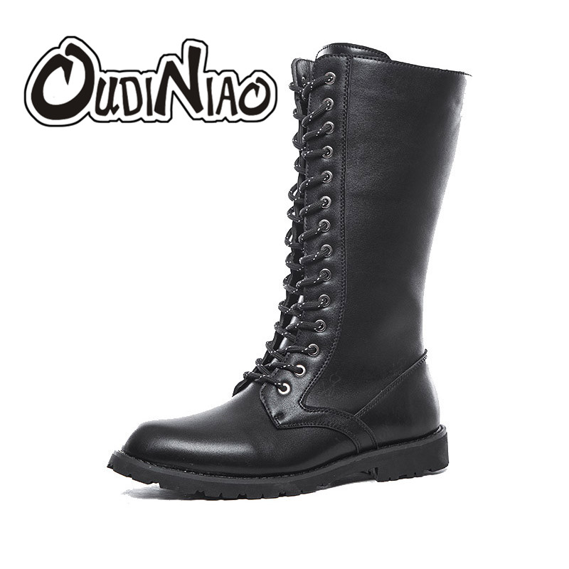 OUDINIAO Army Boots Men High Military Combat Boots Mid Calf Male Motorcycle Boots Solid Black Round Toe Lace Up Men's Shoes