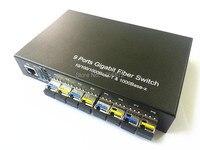 8 Гига SFP и 1 1000 Мбит/с Tx Порты и разъёмы Волокна Переключатель Media Converter SFP media converter волокну 1000 м 8 Порты и разъёмы SFP Волокна Переключатель