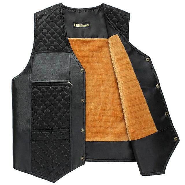 Autumn and winter quinquagenarian plus size vest plus velvet waistcoat vest leather patchwork cotton vest men's clothing