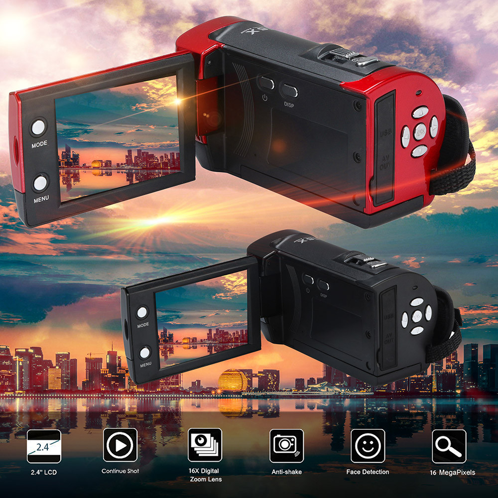 Video Camcorder HD 1080P  16 Million Pixels Handheld Digital Camera 16X Digital Mini Camera Wearable Devices Underwater Camera
