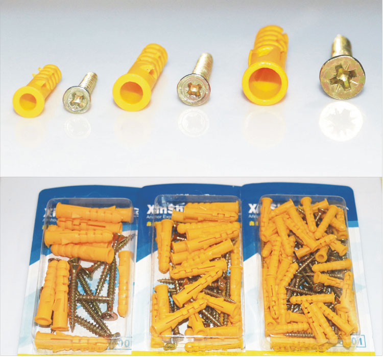 uxcell 8X80mm Plastic Expansion Pipe Column Concrete Anchor Wall Plug Frame Fixings Tube Yellow 25pcs