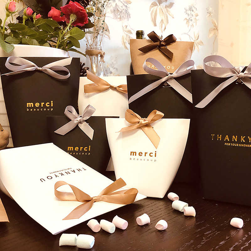 """Flor Saco de Presentes de natal (Com Fita) bronzeamento """"Obrigado/Merci"""" Kraft Armazenamento Pacote de Papel de Casamento/Baby Shower/Birthday"""