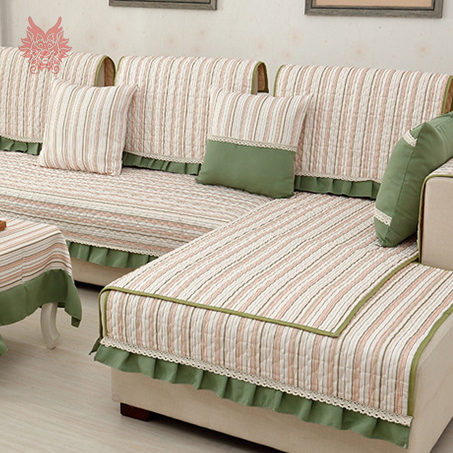 Past Style Green With Striped Linen Cotton Quilted Sofa Cover Slipcovers Canape Quilting Slipcover Lace Decor