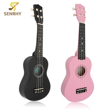 21 inch 12 Fret Black/Pink Acoustic Maple Wood Ukulele Musical Instrument 54x17x5.5cm Ukulele Four-string Small Guitar